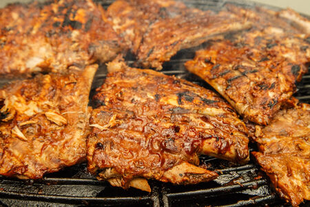 dinnertime: Babyback ribs being grilled