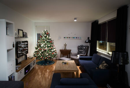 romantic room: Day before christmas, decorated christmastree in living room
