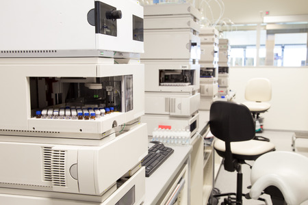 lab equipment: Research laboratory, no people, clean white, selective focus