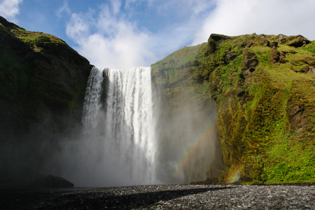 skogafoss waterfall: Skogafoss waterfall in southern Iceland in summer Stock Photo