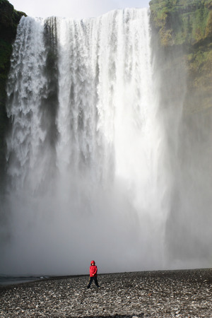 Skogafoss waterfall in southern Iceland in summer photo