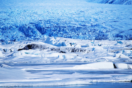 ice sheet: The Glacial lagoon, Jokulsarlon in Iceland in winter, shot towards Breidamerkurjokull