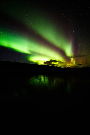 ionosphere: Aurora borealis in southern Iceland Stock Photo
