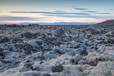 lava field: Moss grown lava field close to Reykjavik Iceland, very rough terrain. Reykjavik visible in the far distance