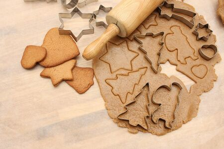 gingerbread cookies: Baked and unbaked gingerbread cookies shot from above