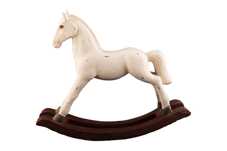Wooden toy horse isolated on white