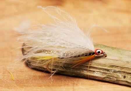 mosca: la pesca con mosca negro fantasma en un pequeño trozo de madera Foto de archivo