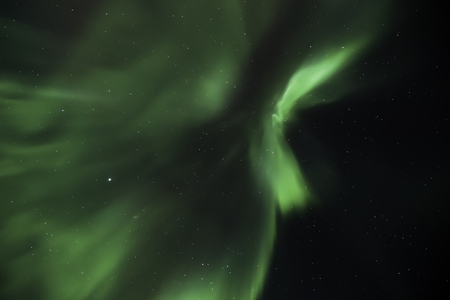 Northern lights in the night sky over Iceland in winter