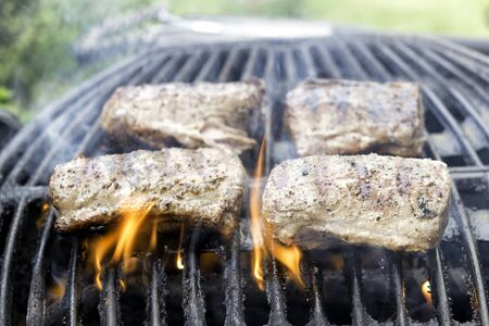 pieces of meat on the barbecue, flames present arount them