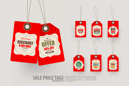tag: Collection of 8 Vintage Style Price Tags