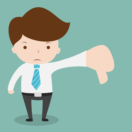 Businessman show hand with thumb down.