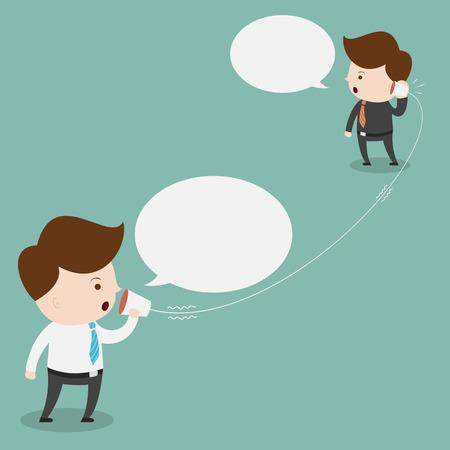 Homme d'affaires à parler avec tasse téléphone. Banque d'images - 37237671