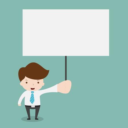boarded: businessman holding blank sign. Illustration