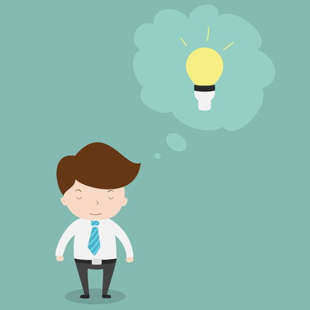 Businessman with light bulb over his head.