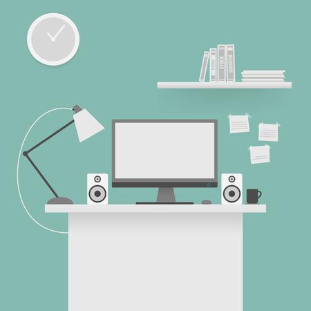 computer education: Computer desk, workplace. Illustration