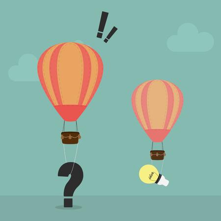 Balloon carrying a big question mark ,Balloon carrying a bulb light idea.