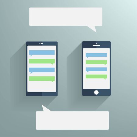 Smartphones with blank speech bubbles on the screen.