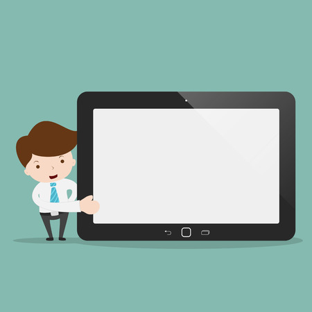 Businessman pointing to the screen of a tablet. Illustration