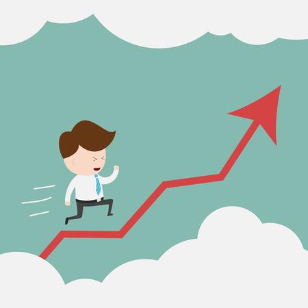 Businessman rise on chart.