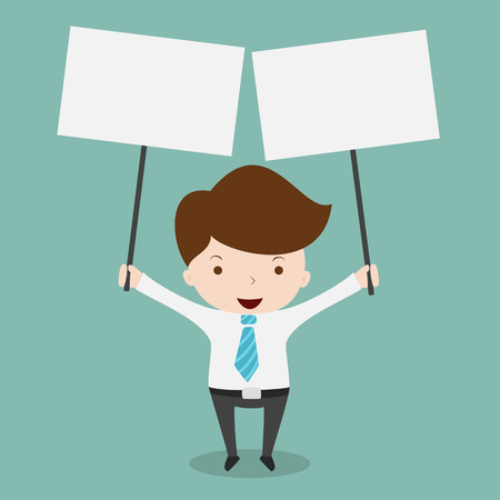 holding sign: Business man holding big blank paper over head,Vector EPS 10. Illustration