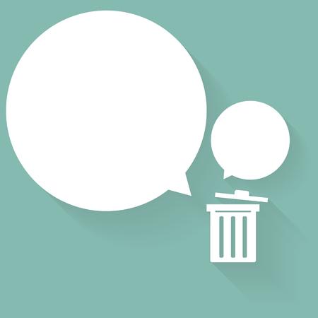 bubble talk: Bin with bubble talk.