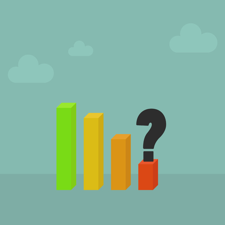 profits: Falling profits graph with question mark,Vector EPS10. Illustration