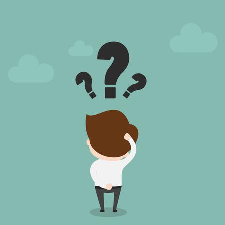 persona confundida: Hombre de negocios con signo de interrogación sobre su cabeza, vector EPS10. Vectores