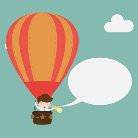 discretion: Businessman in hot air balloon.