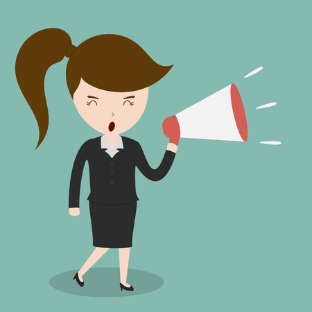 the noise: Business woman with a megaphone
