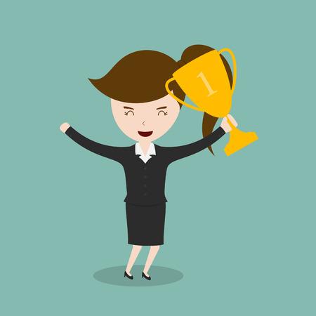 exploit: Businesswomen holding trophies Illustration