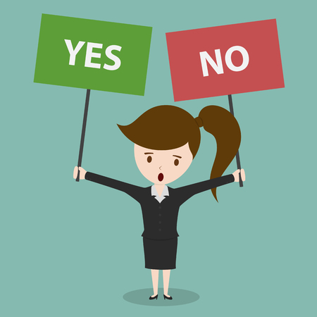 yes or no: Businesswoman with a Yes or No sign