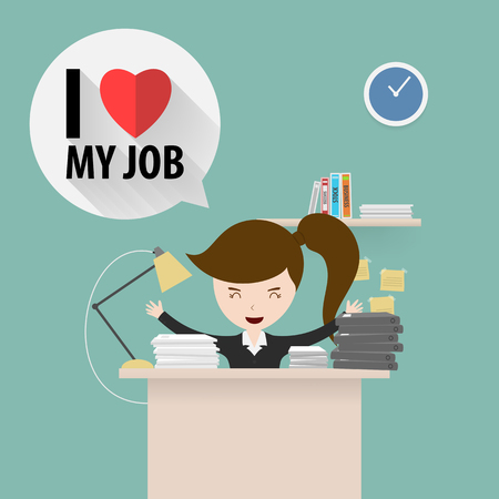 Businesswoman love her job Иллюстрация