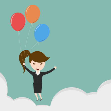 escape plan: Businesswoman flying Illustration