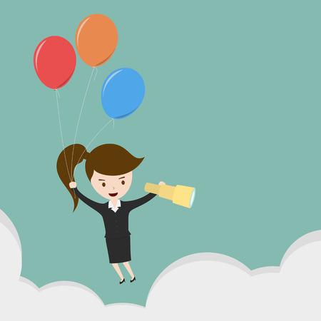 discernment: Businesswoman flying Illustration