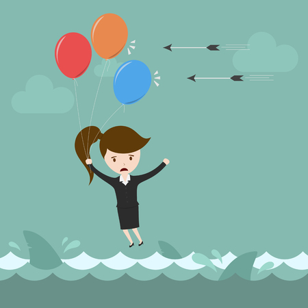 risky innovation: Businesswoman flying over risk