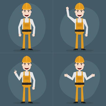 Set of engineer characters poses,Vector EPS10. Ilustração Vetorial