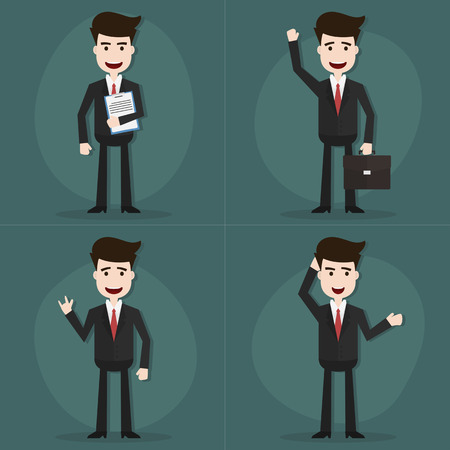 pose: Set of businessman characters poses,Vector EPS10.