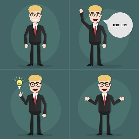 vector eps10: Set of businessman characters poses,Vector EPS10.