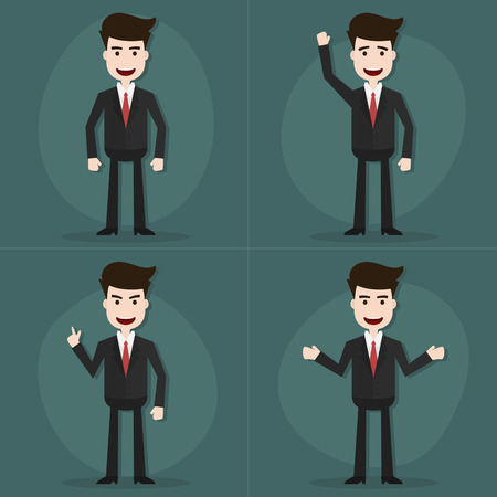 happy worker: Set of businessman characters poses,Vector EPS10.