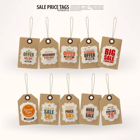 rope knot: Collection of 10 Vintage Style Price Tags,Vector EPS10. Illustration