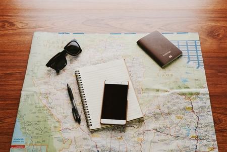 Carte voyage voyage destination direction planification concept. Banque d'images - 85181120
