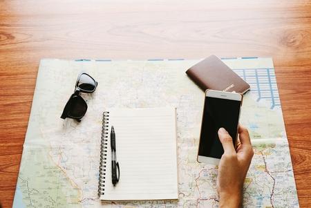 Map travel trip destination direction planning concept.