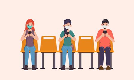 Social distancing concept people sitting away to prevent COVID-19 coronavirus.