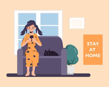 Woman Stay at home avoid spreading the coronavirus during covid-19. Work from home to safe life. 矢量图像