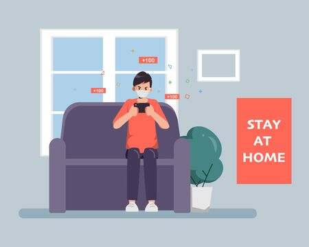 Man Stay at home avoid spreading the coronavirus during covid-19. Work from home to safe life. 矢量图像