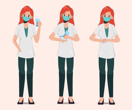 Doctor wear mask and present sanitizer alcohol gel. 矢量图像