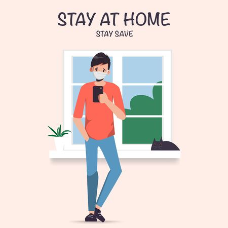 Man Stay at home avoid spreading the coronavirus during covid-19. Work from home to safe life. Illustration