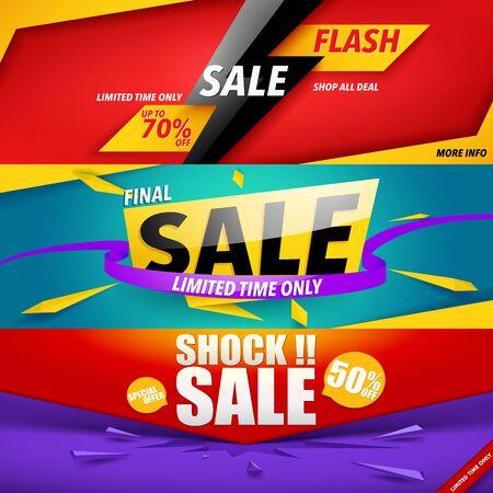 Set of sale banner template design. Illustration