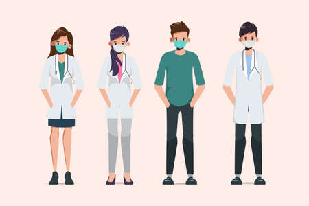 Doctor wear mask in different character. 矢量图像