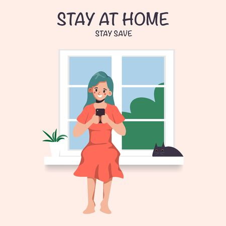 Woman Stay at home avoid spreading the coronavirus during covid-19. Work from home to safe life. Illustration